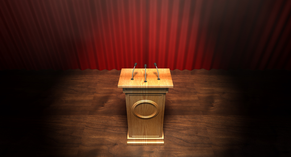 Wooden Podium On Curtained Stage